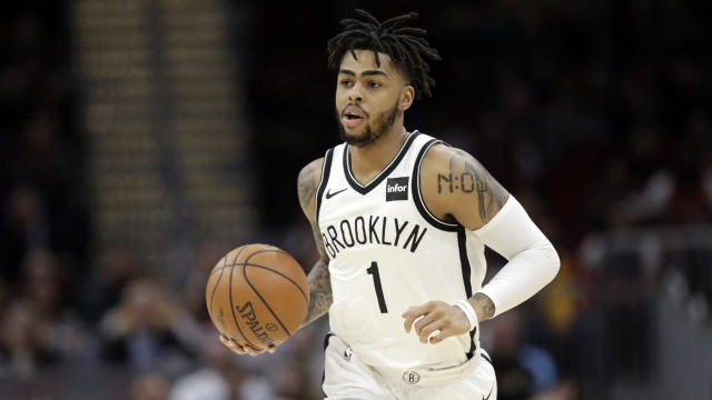 "<a class=""link rapid-noclick-resp"" href=""/nba/players/5433/"" data-ylk=""slk:D'Angelo Russell"">D'Angelo Russell</a> should stay aggressive with the Nets having nothing to lose down the stretch.. (AP Photo/Tony Dejak)"