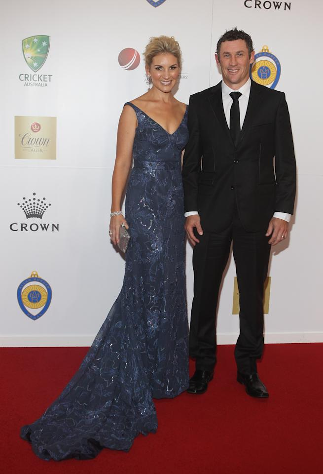 MELBOURNE, AUSTRALIA - FEBRUARY 27:  David Hussey and Kristy Hussey arrive at the 2012 Allan Border Medal Awards at Crown Palladium on February 27, 2012 in Melbourne, Australia.  (Photo by Lucas Dawson/Getty Images)