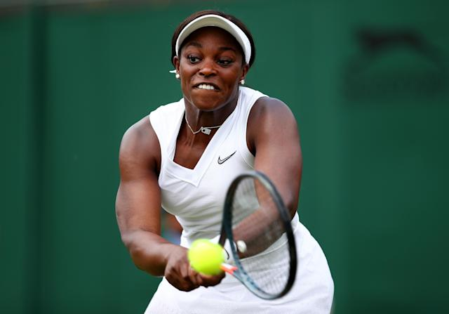 Sloane Stephens of The United States plays a backhand in her Ladies' Singles first round match against Timea Bacsinszky of Switzerland during Day two of The Championships - Wimbledon 2019 at All England Lawn Tennis and Croquet Club on July 02, 2019 in London, England. (Photo by Clive Brunskill/Getty Images)