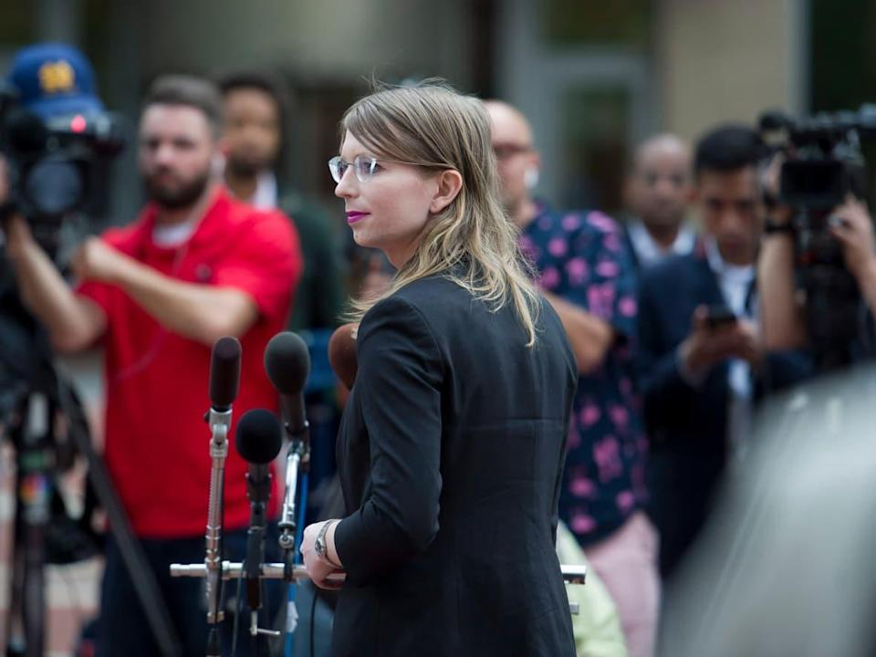 Former Army intelligence analyst Chelsea Manning speaks with reporters, after arriving at the federal courthouse in Alexandria, Va., Thursday, May 16, 2019. (The Associated Press - image credit)