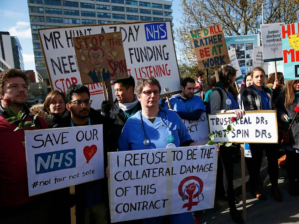 Doctors protesting in April 2016 during the dispute over planned contract changes  (Reuters)