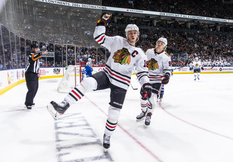 TORONTO, ON - JANUARY 18: Jonathan Toews #19 of the Chicago Blackhawks celebrates his goal against the Toronto Maple Leafs during the second period at the Scotiabank Arena on January 18, 2020 in Toronto, Ontario, Canada. (Photo by Mark Blinch/NHLI via Getty Images)