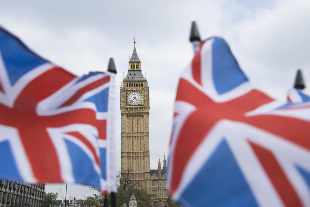 British flags waving by Big Ben