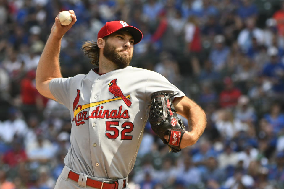 St. Louis Cardinals starting pitcher Michael Wacha (52) delivers during the first inning of a baseball game against the Chicago Cubs, Friday, Sept. 20, 2019, in Chicago. (AP Photo/Matt Marton)