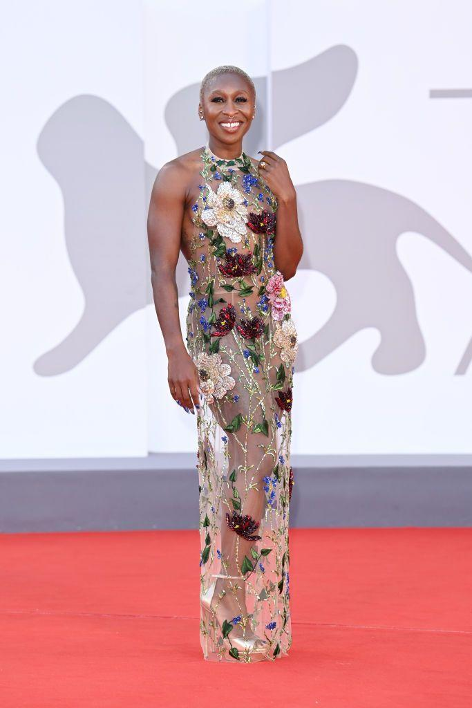 <p>A member of the jury for this year's festival, Erivo arrived at the closing ceremony in her final (incredible) look of this year's ceremony: A high neck, sheer, floral appliqué gown by Oscar de la Renta.</p>