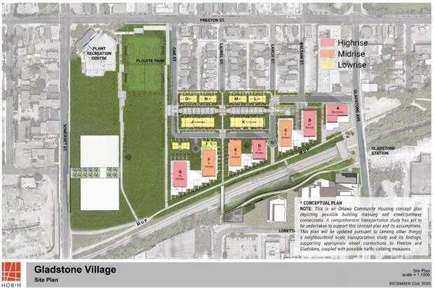 The first phase of Gladstone Village, pictured here, is expected to be started later this year, with the expectation that 340 Ottawa Community Housing units would be ready to be occupied by late 2025.