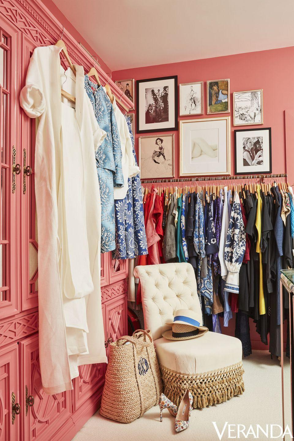 """<p>What's more mood-boosting than painting a room the color of your favorite lipstick shade? That's just what tastemaker and author <a href=""""https://www.veranda.com/decorating-ideas/a13121154/danielle-rollins-atlanta-home/"""" rel=""""nofollow noopener"""" target=""""_blank"""" data-ylk=""""slk:Danielle Rollins"""" class=""""link rapid-noclick-resp"""">Danielle Rollins</a> did in her vibrant dressing room. Pink not only symbolizes femininity, but it can spark creativity, inspire joyfulness, and offer a refresh. </p>"""