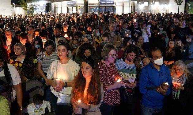 <strong>Members of the public attend a vigil in memory of Sabina Nessa, and in solidarity against violence against women, at Pegler Square in Kidbrooke, south London.</strong> (Photo: Jonathan BradyPA)