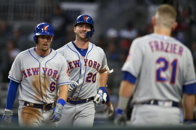 "Jun 18, 2019; Atlanta, GA, USA; New York Mets first baseman Pete Alonso (20) celebrates after a home run with second baseman Jeff McNeil (6) and third baseman <a class=""link rapid-noclick-resp"" href=""/mlb/players/8629/"" data-ylk=""slk:Todd Frazier"">Todd Frazier</a> (21) against the Atlanta Braves in the fourth inning at SunTrust Park. Mandatory Credit: Brett Davis-USA TODAY Sports"