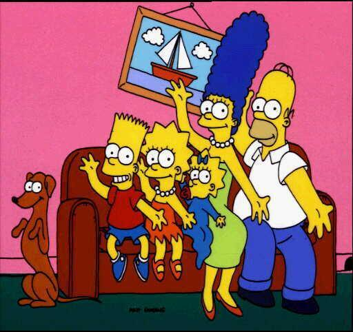 "The Simpsons: (l-r) Bart, Lisa, Maggie, Marge and Homer with dog, ""Santa's Little Helper"", photo"