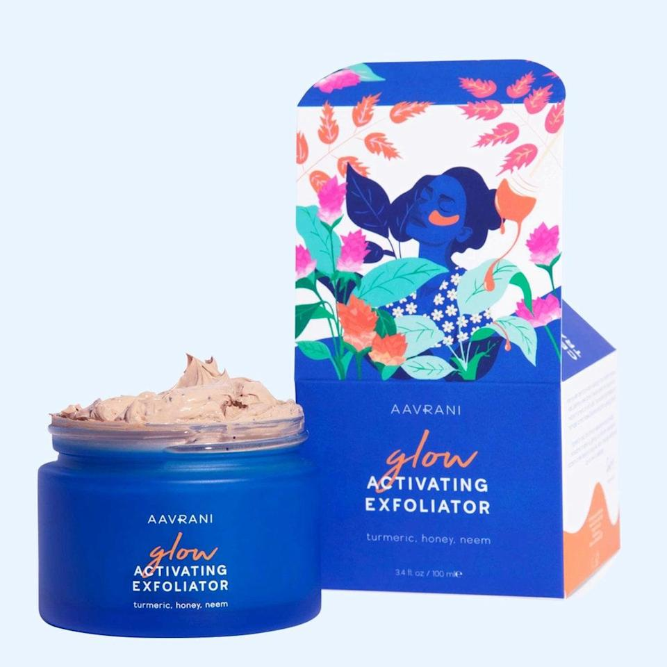 <p>Made with turmeric, neem, jojoba, and raw honey, the <span>Aavrani Glow Activating Exfoliator</span> ($70) is a luxurious facial in a jar. It will reveal soft and glowing skin, all while being gentle.</p>