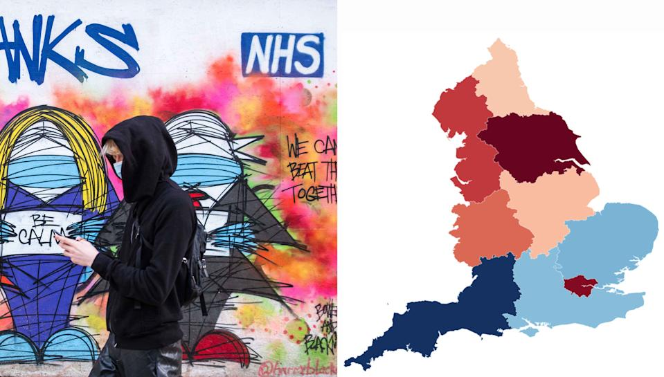There are 'substantial' differences between regions in England when it comes to COVID antibodies rates, a study has shown. (PA/Yahoo News UK)