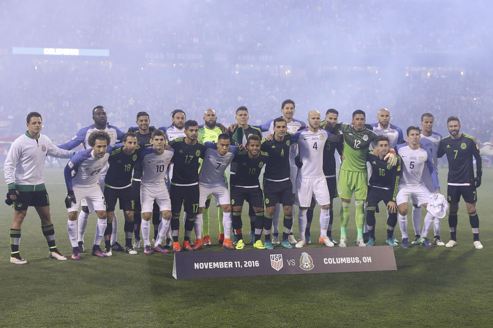 The United States and Mexican national teams came together for a pregame photo in November 2016, a few days after Donald Trump's election. (Photo by Omar Vega/LatinContent via Getty Images)