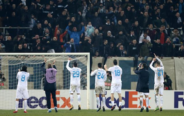 Soccer Football - Europa League - HNK Rijeka vs AC Milan - Stadion HNK Rijeka, Rijeka, Croatia - December 7, 2017 Rijeka players celebrate after the match REUTERS/Antonio Bronic