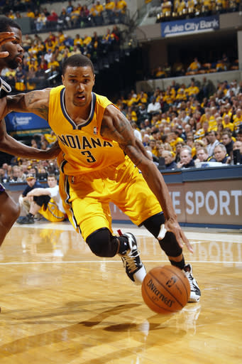 INDIANAPOLIS, IN - NOVEMBER 3: George Hill #3 of the Indiana Pacers handles the ball against the Sacramento Kings on November 3, 2012 at Bankers Life Fieldhouse in Indianapolis, Indiana. (Photo by Ron Hoskins/NBAE via Getty Images)