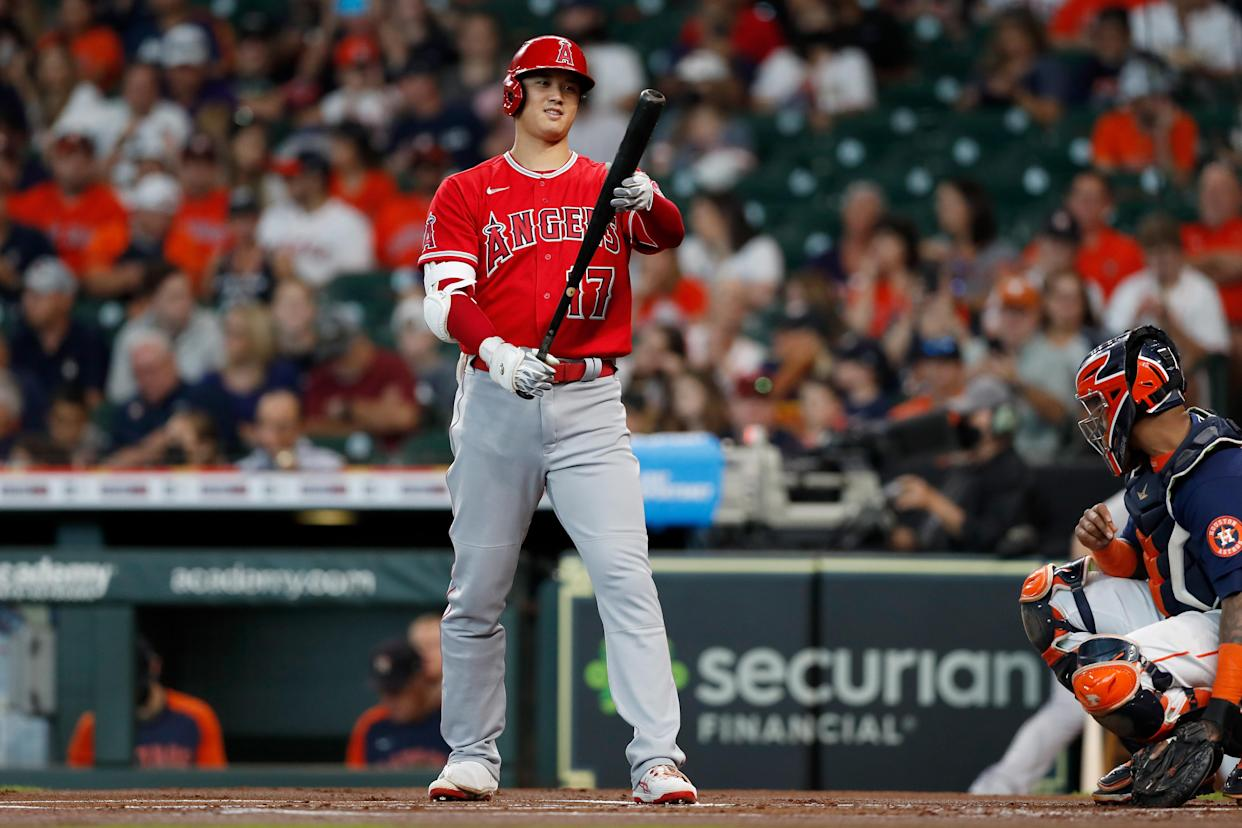 HOUSTON, TEXAS - SEPTEMBER 12: Shohei Ohtani #17 of the Los Angeles Angels bats in the first inning against the Houston Astros at Minute Maid Park on September 12, 2021 in Houston, Texas. (Photo by Tim Warner/Getty Images)