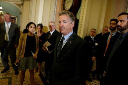 Paul speaks with reporters about healthcare legislation outside the Senate floor at the U.S. Capitol in Washington