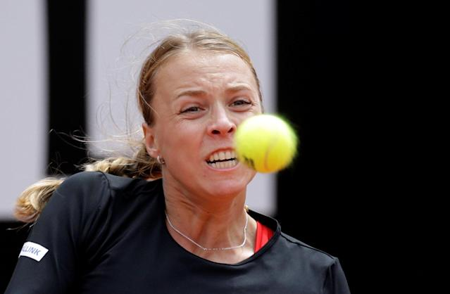 Tennis - WTA Premier 5 - Italian Open - Foro Italico, Rome, Italy - May 17, 2018 Estonia's Anett Kontaveit in action during her third round match against Venus Williams of the U.S. REUTERS/Max Rossi