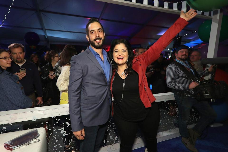 """<p>While Alex Guarnaschelli and Michael Castellon didn't <em>technically </em>meet on <em>Chopped</em>, they met at Michael's restaurant in 2016, and he happens to be a <em>Chopped </em>winner. He and Alex, a regular <em>Chopped </em>judge, hit it off immediately and in 2020 they <a href=""""https://people.com/food/alex-guarnaschelli-engaged/#:~:text=Guarnaschelli%20and%20Castellon%2C%20a%20fellow,good%2C'%20%22%20she%20recalls."""" rel=""""nofollow noopener"""" target=""""_blank"""" data-ylk=""""slk:announced that they were engaged"""" class=""""link rapid-noclick-resp"""">announced that they were engaged</a><em>. </em></p>"""