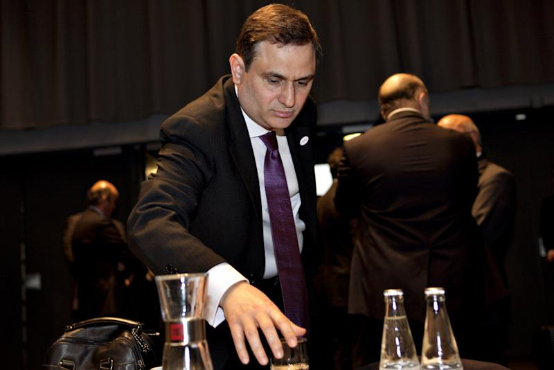 Minister of Finance of Greece Filippos Sachinidis, during the informal EU-meeting for EU Finance ministers, the ECOFIN Meeting, in Copenhagen, Denmark Friday, March 30 2012. (AP Photo/Gregers Tycho/POLFOTO) DENMARK OUT