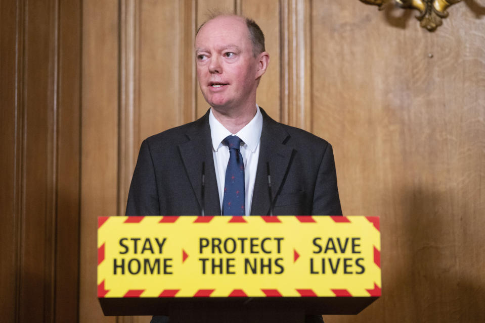 Chief Medical Officer Chris Whitty speaks during a media briefing on COVID-19, in Downing Street, London, Friday Jan. 15, 2021. (Dominic Lipinski/Pool via AP)