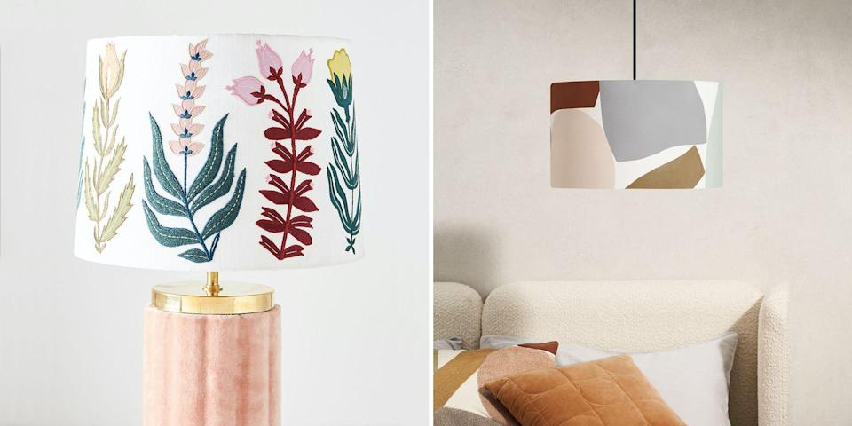 """<p><strong>For a long time, lampshades were relegated to the same passé corner of interior design as peacock chairs, patterned <a href=""""https://www.housebeautiful.com/uk/house-beautiful-collections/g36172810/homebase-wallpaper/"""" rel=""""nofollow noopener"""" target=""""_blank"""" data-ylk=""""slk:wallpaper"""" class=""""link rapid-noclick-resp"""">wallpaper</a>, and macramé wall hangings, replaced with slick metallic pendants lights and spindly mid-century floor lamps. </strong><br></p><p>In recent years however, pleated lampshades have enjoyed a serious moment on instagram, as have their densely patterned ikat counterparts, bringing lampshades back into the design lexicon of stylish homeowners. Today, there are lampshades for every taste, that can transform a plain <a href=""""https://www.housebeautiful.com/uk/decorate/lighting/g35728078/table-lamps/"""" rel=""""nofollow noopener"""" target=""""_blank"""" data-ylk=""""slk:table lamp"""" class=""""link rapid-noclick-resp"""">table lamp</a> or create a feature pendant. </p><p>Soft <a href=""""https://www.housebeautiful.com/uk/decorate/looks/g37013605/velvet-interior-home-decor/"""" rel=""""nofollow noopener"""" target=""""_blank"""" data-ylk=""""slk:velvets"""" class=""""link rapid-noclick-resp"""">velvets</a> are popular for their versatility (we've chosen our top five in this roundup), fringed lampshades lend Art Deco references for a bit of added luxury, and neutral woven rattans complement a natural, plant-filled home. In terms of colour, anything goes – we've chosen punchy yellows, classic <a href=""""https://www.housebeautiful.com/uk/decorate/looks/tips/g249/grey-colour-schemes-stylist-tips/"""" rel=""""nofollow noopener"""" target=""""_blank"""" data-ylk=""""slk:greys"""" class=""""link rapid-noclick-resp"""">greys</a> and a host of pretty pinks. </p><p>An added bonus in choosing a lampshade over exposed bulbs and pendants is that a soft material will better filter your light for a more relaxed room. Read on for 16 of the best modern lampshades to buy right now. </p>"""