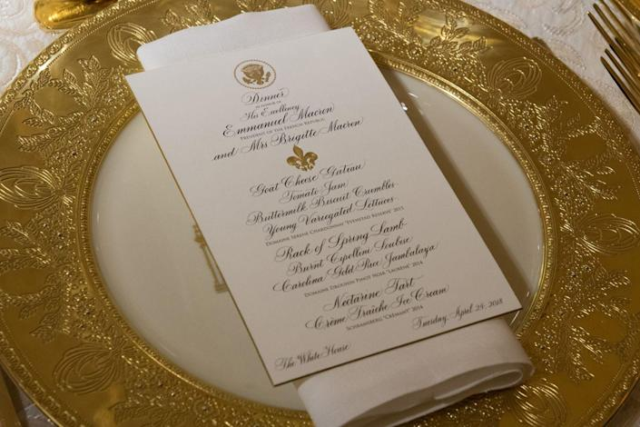 <p>The White House chef, Cristeta Comerford, served an American menu with French influences, which included rack of spring lamb, Carolina gold rice jambalaya, and nectarine tarts for dessert. Fresh herbs from the South Lawn included!</p>