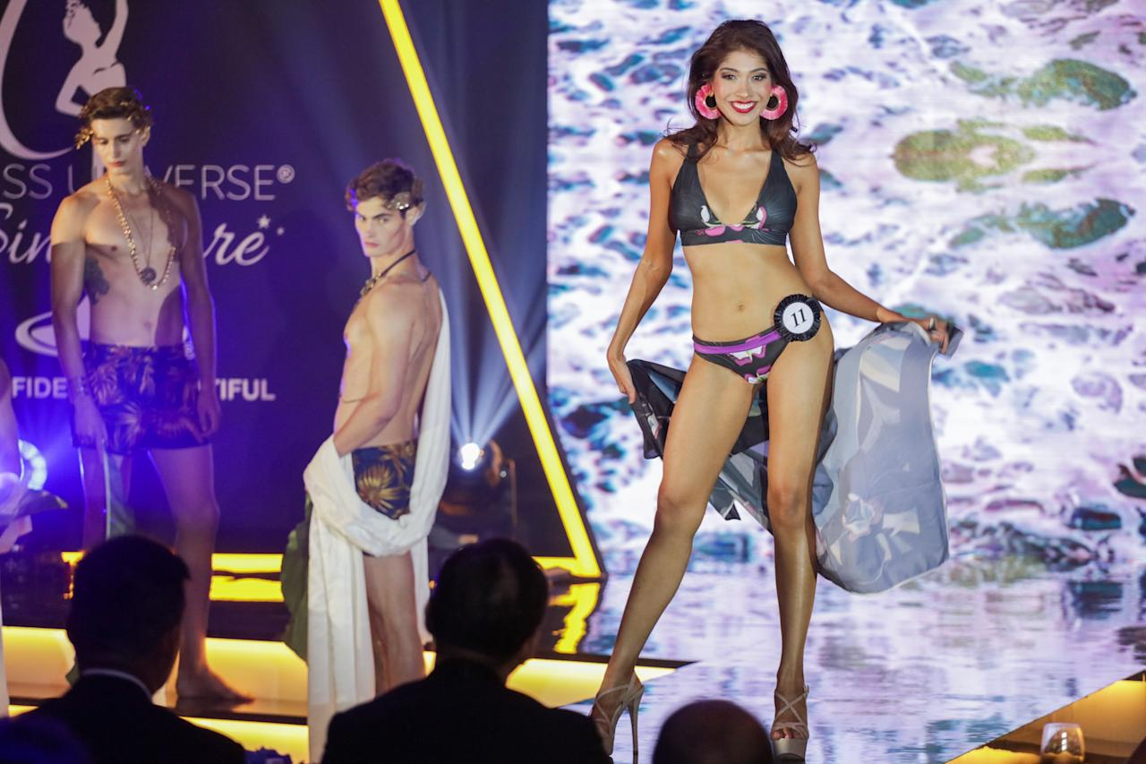 <p>Winner of Miss Universe Singapore 2018 Zahra Khanum competing in the swimsuit segment at the Miss Universe Singapore Grand Finale at One Farrer Hotel on 31 August 2018. (PHOTO: Don Wong for Yahoo Lifestyle Singapore) </p>