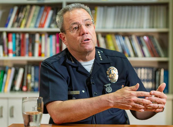 Los Angeles Police Department Chief Michel Moore is under fire for his comments about George Floyd's death.