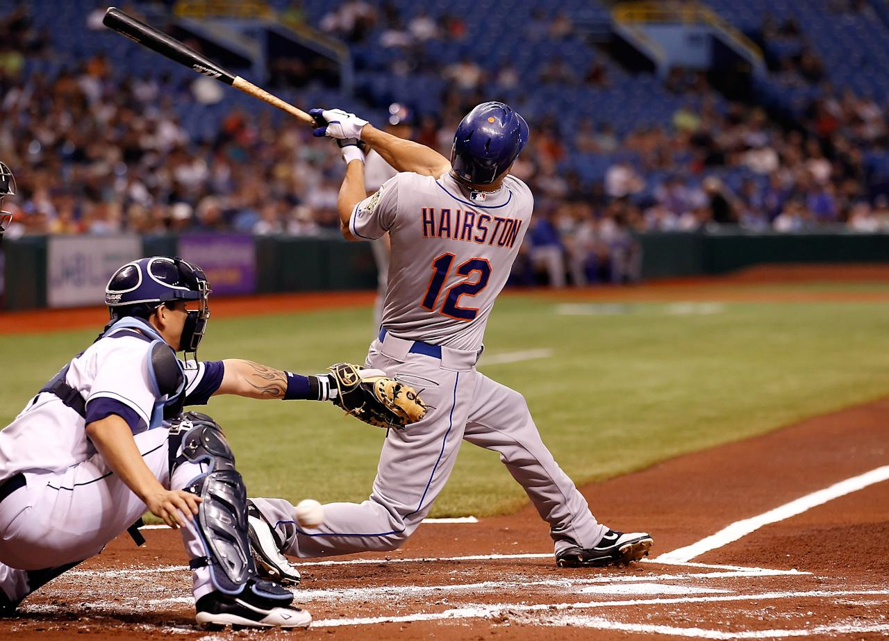 ST. PETERSBURG - JUNE 13:  Outfielder Scott Hairston #12 of the New York Mets bats against the Tampa Bay Rays during the game at Tropicana Field on June 13, 2012 in St. Petersburg, Florida.  (Photo by J. Meric/Getty Images)