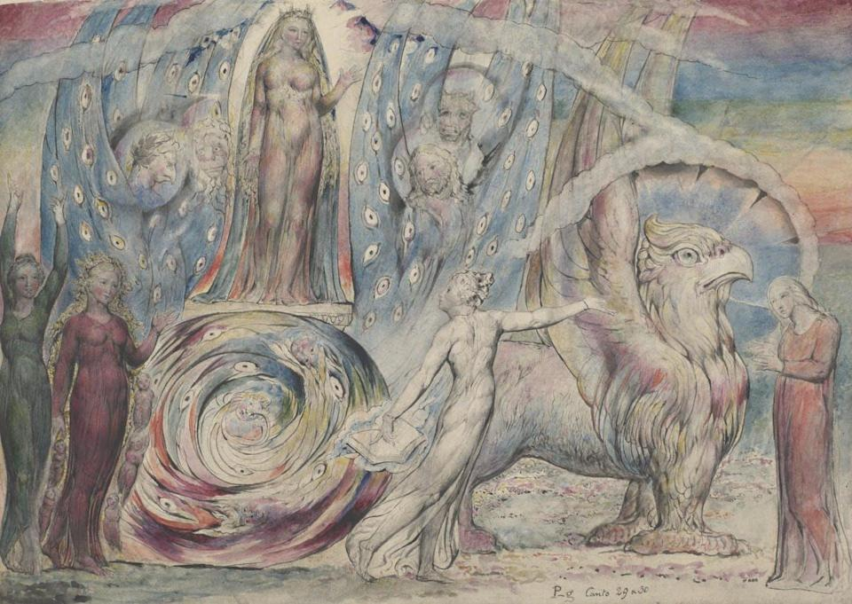 """<span class=""""caption"""">Beatrice dirigiéndose a Dante.</span> <span class=""""attribution""""><a class=""""link rapid-noclick-resp"""" href=""""https://www.tate.org.uk/art/artworks/blake-beatrice-addressing-dante-from-the-car-n03369"""" rel=""""nofollow noopener"""" target=""""_blank"""" data-ylk=""""slk:William Blake / Tate Gallery"""">William Blake / Tate Gallery</a>, <a class=""""link rapid-noclick-resp"""" href=""""http://creativecommons.org/licenses/by-nc-nd/4.0/"""" rel=""""nofollow noopener"""" target=""""_blank"""" data-ylk=""""slk:CC BY-NC-ND"""">CC BY-NC-ND</a></span>"""