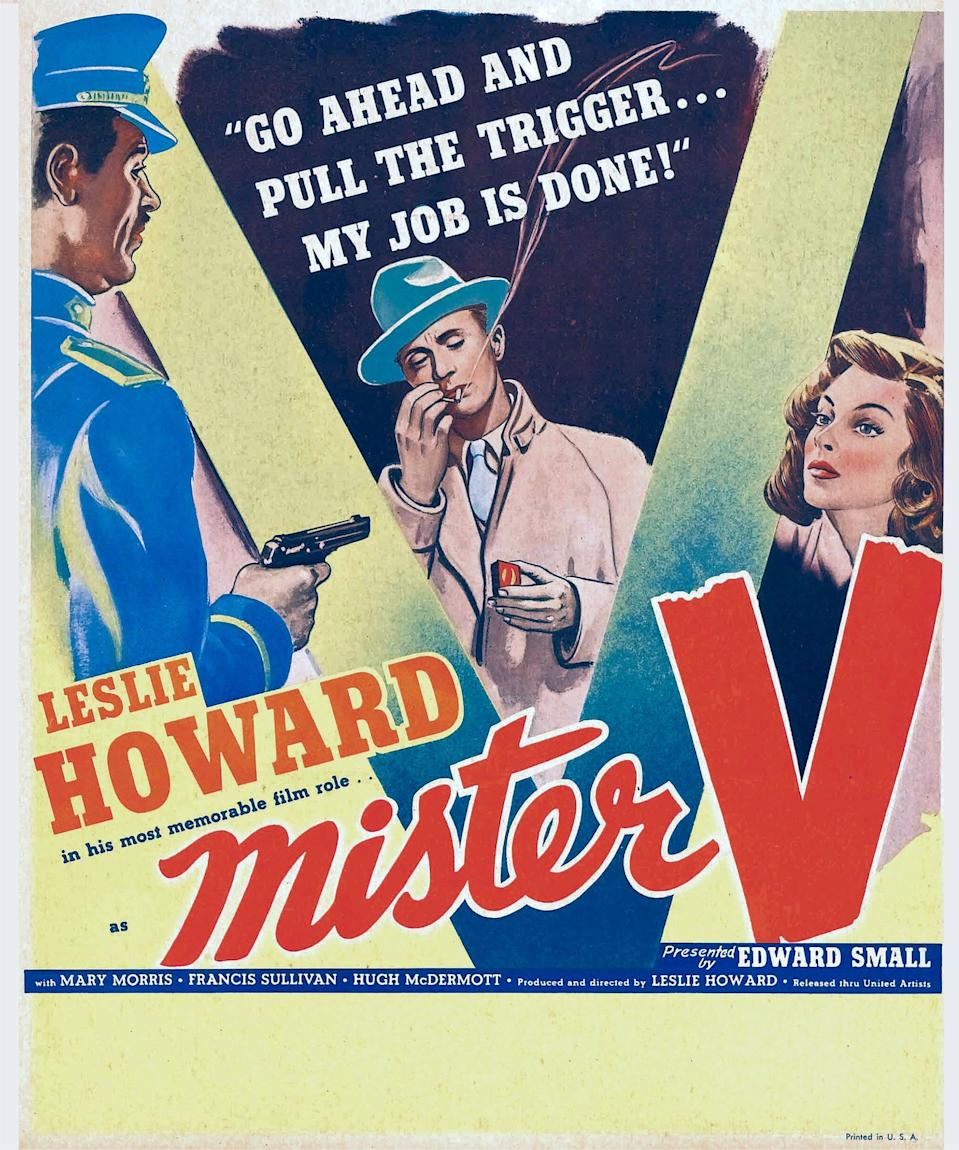 'Pimpernel' Smith (aka Mister V), poster, center: Leslie Howard, right: Francis Sullivan on window card, 1941. (Photo by LMPC via Getty Images)