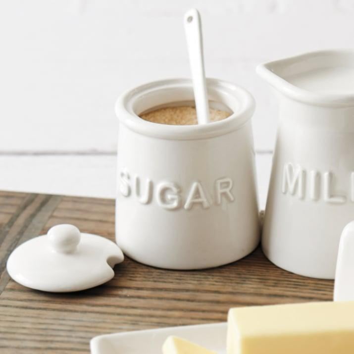 <p>This <span>Sur La Table Sugar Bowl With Lid and Serving Spoon</span> ($8, originally $13) will look great with her coffee station.</p>