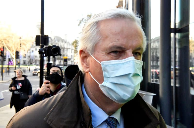 EU chief Brexit negotiator Michel Barnier, wearing a face mask, is seen in London as Brexit talks continue