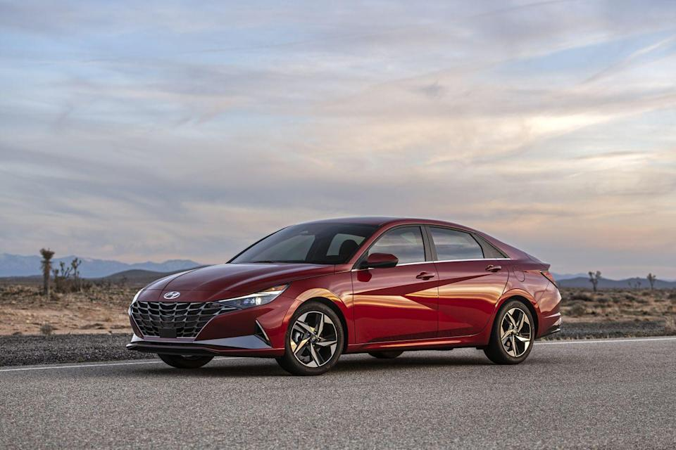 "<p>Hyundai is becoming increasingly known for daring designs, and the company's compact sedan, the <a href=""https://www.caranddriver.com/hyundai/elantra"" rel=""nofollow noopener"" target=""_blank"" data-ylk=""slk:2021 Elantra"" class=""link rapid-noclick-resp"">2021 Elantra</a>, is the latest to receive a <a href=""https://www.caranddriver.com/news/a31368284/2021-hyundai-elantra-redesign-revealed/"" rel=""nofollow noopener"" target=""_blank"" data-ylk=""slk:bold new look"" class=""link rapid-noclick-resp"">bold new look</a>. The new Elantra sports angular exterior details and an upscale cabin, both of which are intended to pull focus away from the segment's heavy hitters—namely the <a href=""https://www.caranddriver.com/honda/civic"" rel=""nofollow noopener"" target=""_blank"" data-ylk=""slk:Honda Civic"" class=""link rapid-noclick-resp"">Honda Civic</a>, <a href=""https://www.caranddriver.com/toyota/corolla"" rel=""nofollow noopener"" target=""_blank"" data-ylk=""slk:Toyota Corolla"" class=""link rapid-noclick-resp"">Toyota Corolla</a>, and <a href=""https://www.caranddriver.com/nissan/sentra"" rel=""nofollow noopener"" target=""_blank"" data-ylk=""slk:Nissan Sentra"" class=""link rapid-noclick-resp"">Nissan Sentra</a>. The standard powertrain is a 147-hp four-cylinder but Hyundai also offers a 201-hp turbocharged N Line model and an available hybrid powertrain. A host of driver-assistance features are standard, with even more advanced tech offered as options.</p><p><a class=""link rapid-noclick-resp"" href=""https://www.caranddriver.com/hyundai/elantra"" rel=""nofollow noopener"" target=""_blank"" data-ylk=""slk:Review, Pricing, and Specs"">Review, Pricing, and Specs</a></p>"