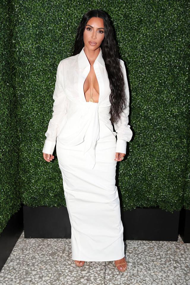 <p>The reality star teamed a Jacquemus white shirt with a long skirt to the BoF West Summit in Los Angeles. </p>