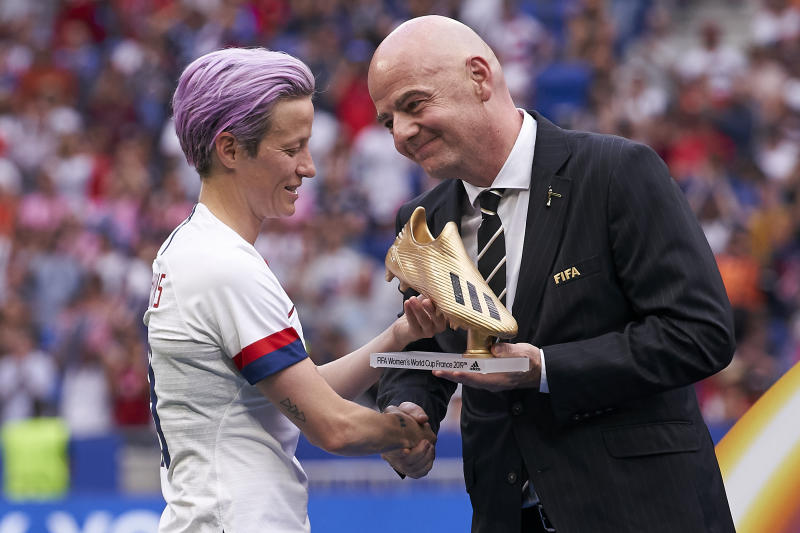 Megan Rapinoe and the USWNT might want to direct their equal pay fight toward Gianni Infantino and FIFA instead of U.S. Soccer. (Photo by Quality Sport Images/Getty Images)