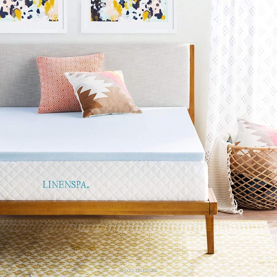 """Itjust might help your old mattress feel<i>cool</i>again. It's infused with temperature-regulating gel beads that capture and dissipate heat to help prevent overheating.<br /><br /><strong>Promising review:</strong>""""I had to buy a new mattress topper and was looking for a great quality one that wasn't that expensive. It's winter here so, yes our heating is on. I started sweating and sort of sticking to the bed out of nowhere. I have never done that before. So I put a blanket under me which helped with the stickiness but worsened the sweating problem. So I ordered this one and now I sleep comfortably. No sweating or stickiness. Just careful with liquids. It's foam and sucks it up and takes a while to dry. That might not be obvious for some people. Five stars would recommend."""" — <a href=""""https://www.amazon.com/gp/customer-reviews/R7IPH1EO9RTPB?&linkCode=ll2&tag=huffpost-bfsyndication-20&linkId=1921b8c137730a23aa0982ed15a84b13&language=en_US&ref_=as_li_ss_tl"""" target=""""_blank"""" rel=""""noopener noreferrer"""">Teresa Benson</a><br /><br /><strong><a href=""""https://www.amazon.com/Linenspa-Infused-Memory-Mattress-Topper/dp/B01N41IPPI?&linkCode=ll1&tag=huffpost-bfsyndication-20&linkId=471ec6e60541de394afeea84cee273f9&language=en_US&ref_=as_li_ss_tl"""" target=""""_blank"""" rel=""""noopener noreferrer"""">Get it from Amazon for $39.99+(available in two and three inches for twin XL and twin-California king, twin and full XL, and RV queen size beds).</a></strong><br /><a href=""""https://img.buzzfeed.com/buzzfeed-static/static/2019-01/10/11/asset/buzzfeed-prod-web-01/sub-buzz-9259-1547138653-3.jpg"""" data-skimlinks-tracking=""""5965088""""></a>"""