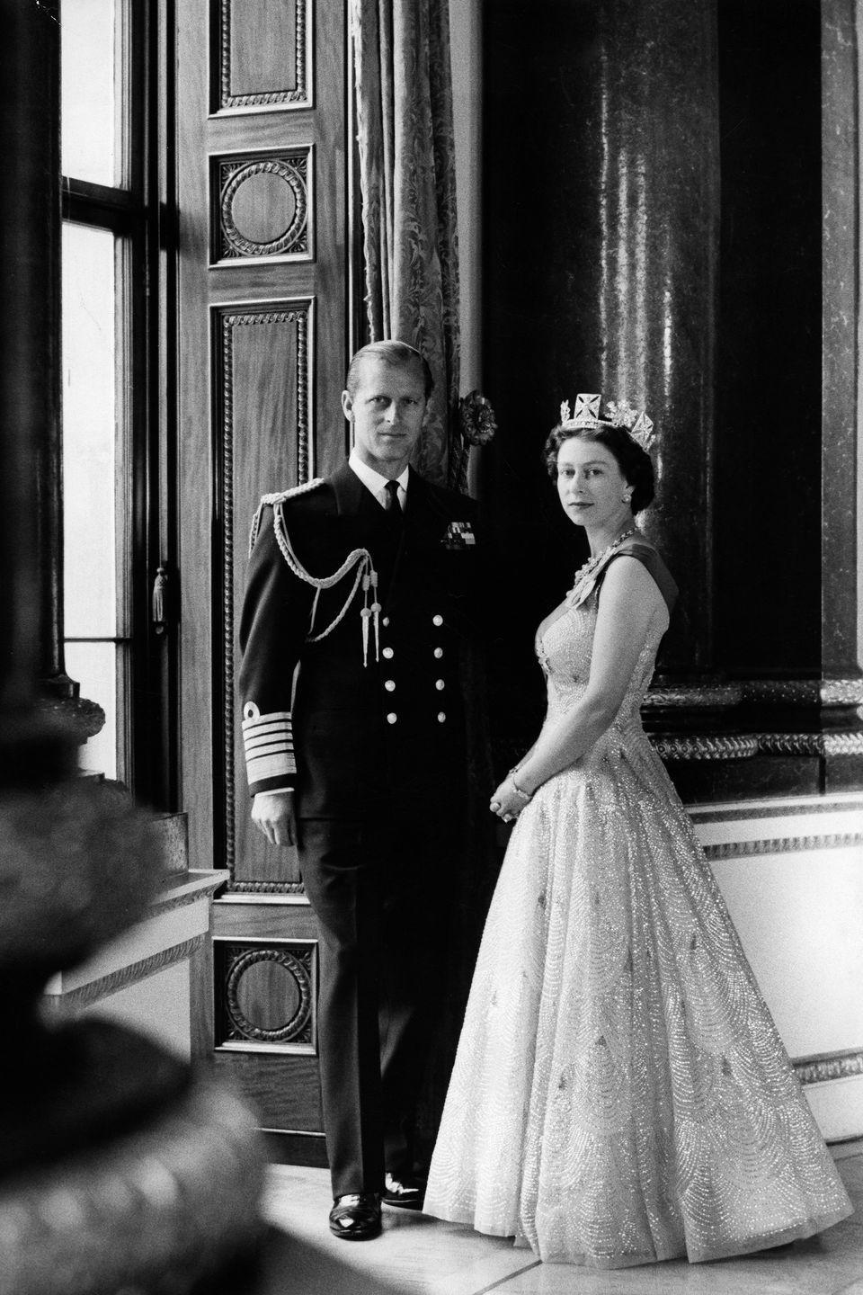 <p>Photographed with her husband Prince Philip. </p>