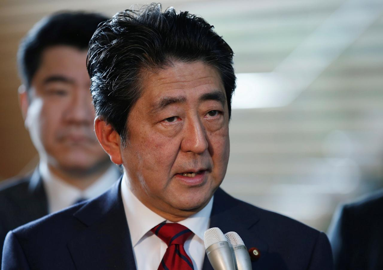 Japan's Prime Minister Shinzo Abe speaks on reports of the launch of a North Korean missile to reporters , at his official residence in Tokyo, Japan May 29, 2017. REUTERS/Toru Hanai     TPX IMAGES OF THE DAY