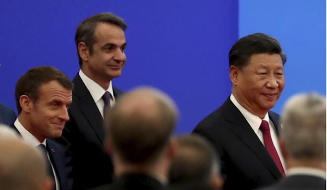 Greek Prime Minister Kyriakos Mitsotakis (second left) is keen to secure Chinese investment to bolster his nation's economy. Photo: AP