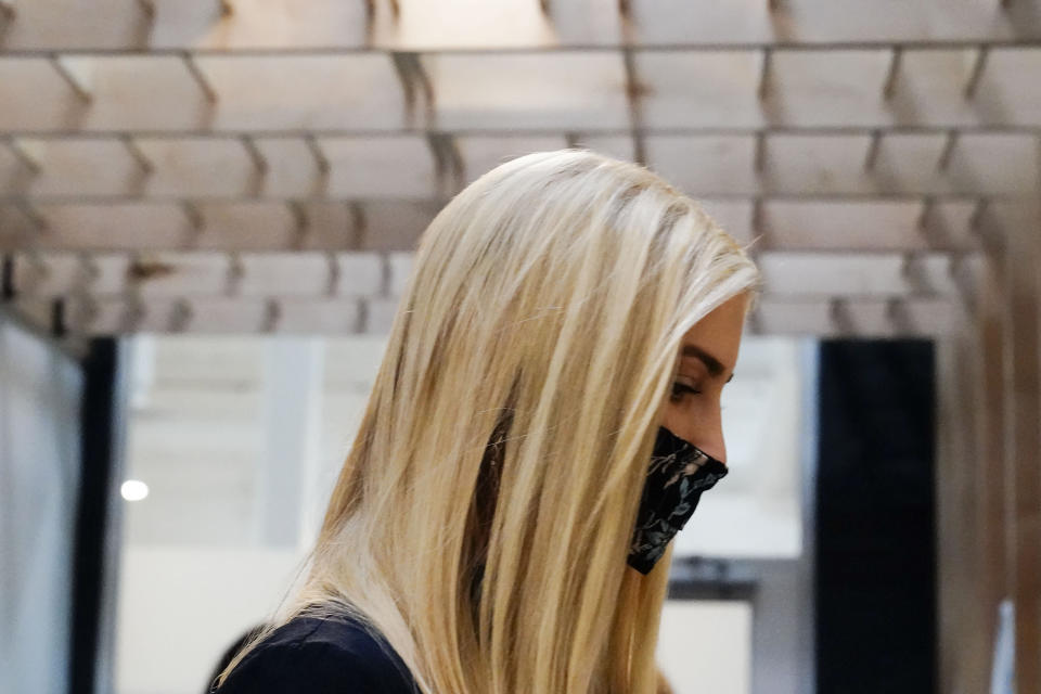 Ivanka Trump takes a tour at the Georgia Center for Child Advocacy on Monday, Sept. 21, 2020, in Atlanta. (AP Photo/Brynn Anderson)