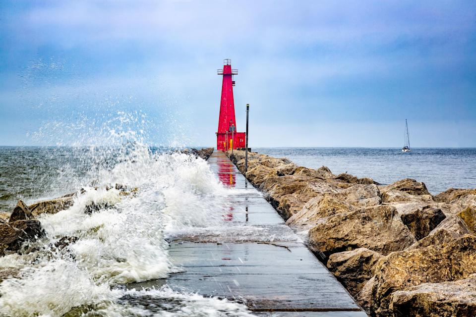 Muskegon Channel South Pier Lighthouse and Wave, Lake Michigan