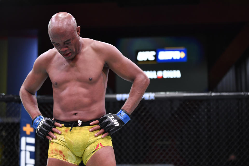 LAS VEGAS, NEVADA - OCTOBER 31: Anderson Silva of Brazil reacts after his loss to Uriah Hall in a middleweight bout during the UFC Fight Night event at UFC APEX on October 31, 2020 in Las Vegas, Nevada. (Photo by Jeff Bottari/Zuffa LLC)