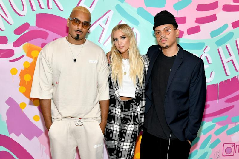 Umar Kamani, Ashlee Simpson Ross and Evan Ross (Getty Images for boohoo)