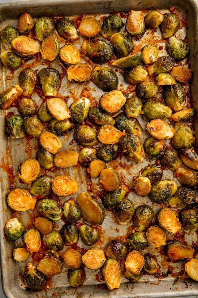 """<p>Get ready for some bangin' Brussels.</p><p>Get the <a href=""""https://www.delish.com/uk/cooking/recipes/a32283890/bang-bang-brussels-sprouts-recipe/"""" target=""""_blank"""">Bang Bang Brussels Sprouts</a>  recipe.</p>"""