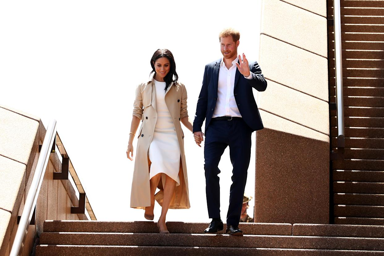 Meghan and Harry greeted fans at the Sydney Opera House. Photo: Getty