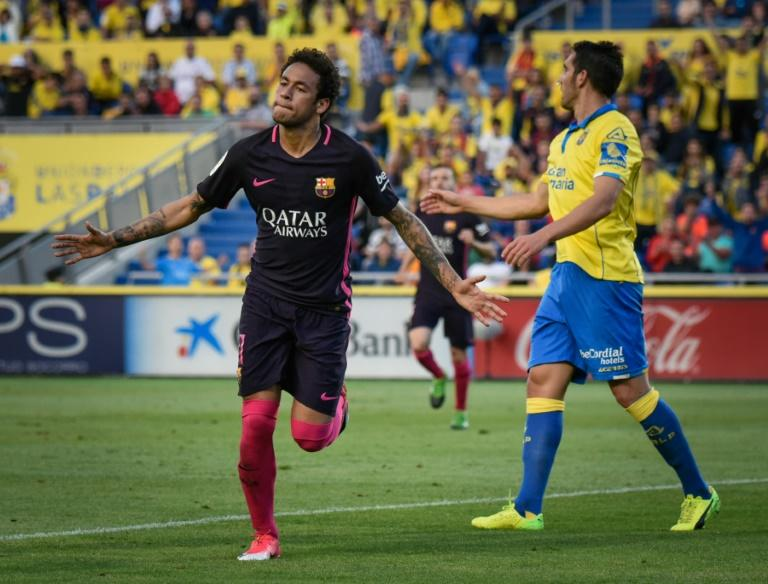 Barcelona's forward Neymar celebrates his second goal against Las Palmas on May 14, 2017