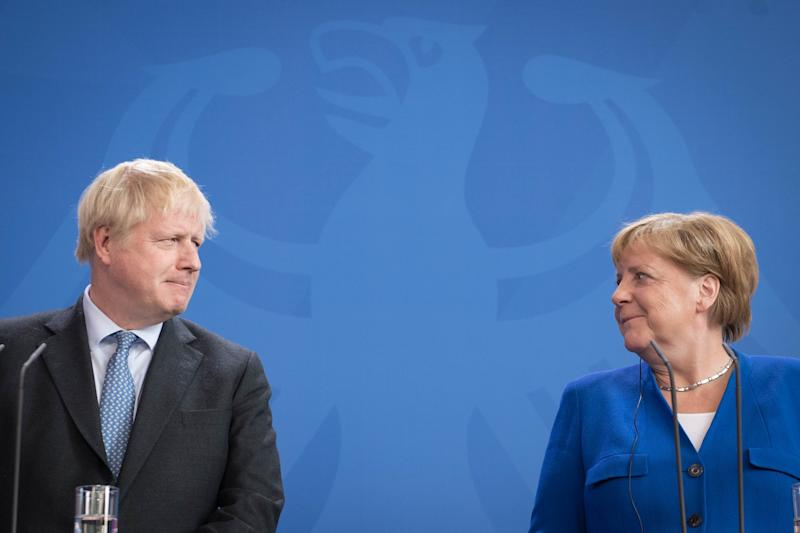 Prime Minister Boris Johnson holds a joint press conference with German Chancellor Angela Merkel in Berlin, ahead of talks to try to break the Brexit deadlock.