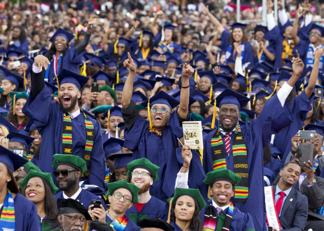 FILE - In this Saturday, May 7, 2016 file photo, students cheer as President Barack Obama delivers the commencement speech during the 2016 Howard University graduation ceremony in Washington. According the federal government a historically black college or university is an accredited learning institution started before 1964 that had a primary mission of educating black people. There are about 100 of them in 2018. (AP Photo/Jose Luis Magana, File)